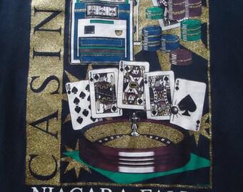 vintage tshirt NIAGRA FALLS Casino Glitter roulette black jack