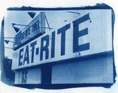 Cyanotype Eat Rite Diner, Diner, Kitchen home decor, blue print,  photography, fine art photography, St. Louis, Cyanotypes, cyanotype, photo
