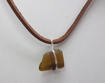 Brown Sea Glass Necklace, Wire Wrapped, Leather Cord, Beach Glass, Lake Erie, Men's Necklace, Women's Necklace