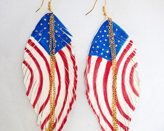 US FLAG. American Flag Leather Feather Earrings. White Handpainted.