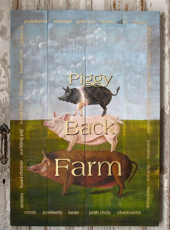 Piggy Back Farm original acrylic painting on reclaimed rustic solid wood