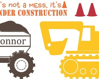 Construction Personalized Dumptruck  Quote Vinyl Wall Decal Decor Wall Lettering Words Quotes Decals Art Custom