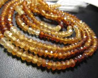 15 inches - Gorgeous - Hessonite Garnet - Shaded - Micro Faceted - Rondell Beads size - 3 mm approx Super Sparkle