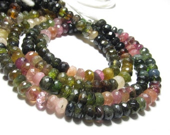 14 Inches so Gorgeous - TOURMALINE - Micro Faceted Rondell Beads Huge Size - 6 mm approx