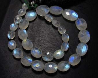 31 pcs - AAA - High Quality Gorgeous Rainbow MOONSTONE - Faceted Oval Briolett Nice Flashy Fire huge size 6x7.5 - 11x14.5 mm approx