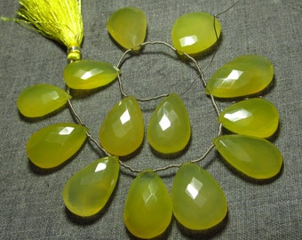 10 Inches --Super Finest --SO YUMMY - NICE - Yellow - Colour Chalcedony Faceted Pear Briolettes Size -14x20 - 17x27 mm Approx