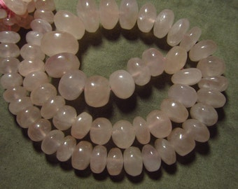 16 inches - Gorgeous NIce Pink Colour Natural Rose Quartz - Smooth Polished Rondell Beads Huge Size - 7 - 15 mm approx