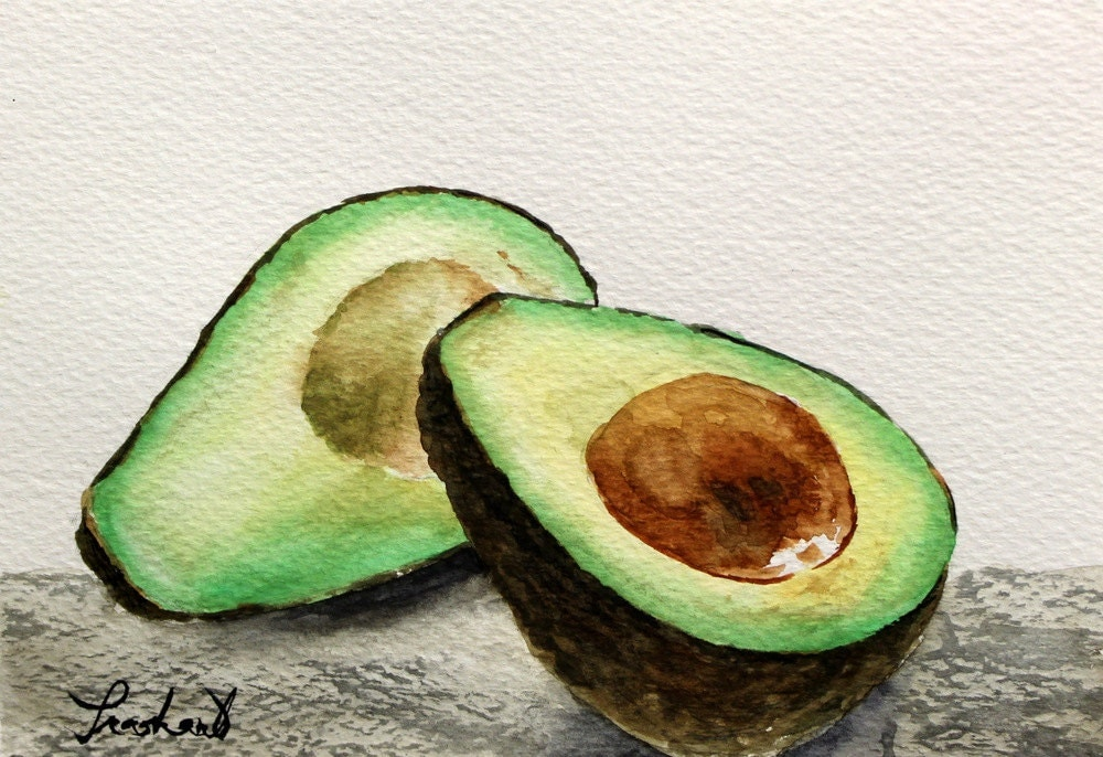 Avocado Original Watercolor Painting 5 X 7
