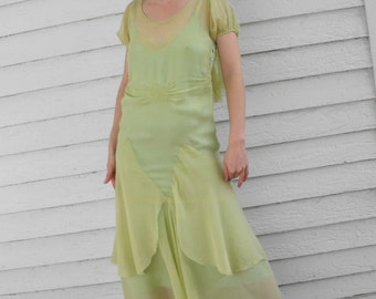 Vintage 30s Dress Green Sheer 1930s Bias Smocked XXS