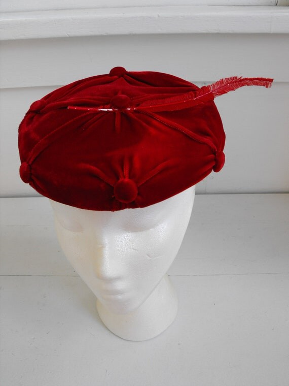 Vintage Red Hat Feather Velvet Round Clover Lane