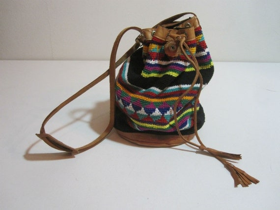 Vintage Southwestern Bucket Bag. Woven Cotton with Leather Trim, Guatemalan.