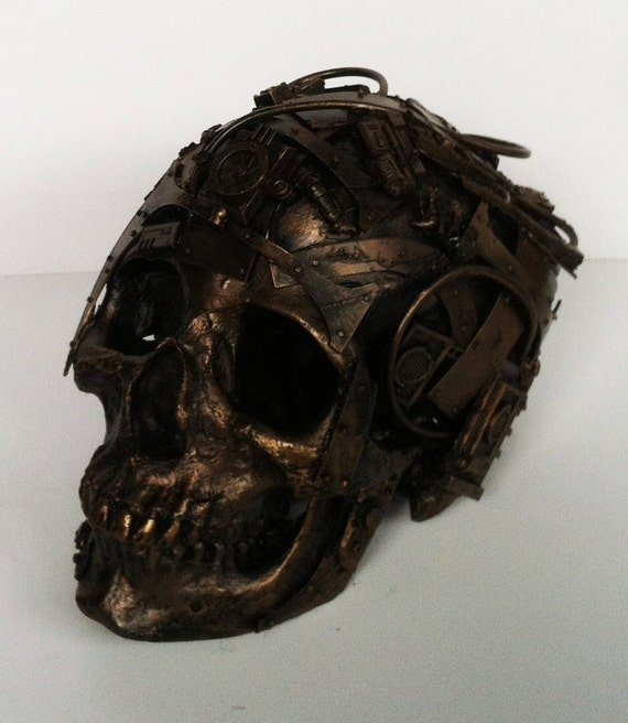 techno skull, bronze