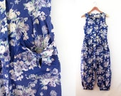 vintage 1980s jumpsuit LAURA ASHLEY jump suit summer floral print overalls small s
