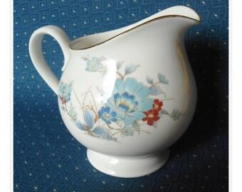 Bleu Fleur NORITAKE Creamer Blue Flowers Rust Floral China - Versatone Cream Pitcher