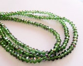 Crystal Beads, Green Rondelle Crystal  Beads, Spacer Beads,  Rondelles High faceted, 36 pieces