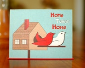 Home Tweet Home - Birdhouse Housewarming Card in Red, White, and Blue