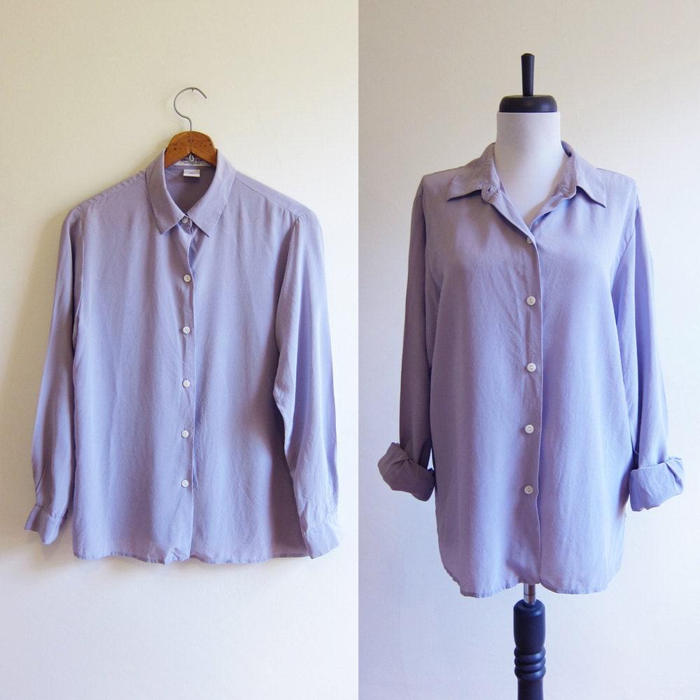 Vintage 1990s blouse lavender silk button down blouse size for Silk button down shirt
