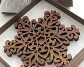 Black Walnut Filigree Style Wood Snowflake Ornament Decoration. Timber Green Woods