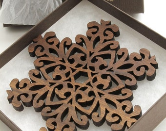 Black Walnut Filigree Style Wood Snowflake Ornament Decpration - Holiday Decor 2012 . Timber Green Woods