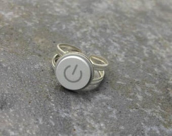 Power Up Ring - Recycled Mac Key, sterling silver, adjustable, gift, birthday, anniversary, wedding