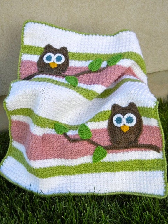 Owl Baby Blanket PInk and Green Girl Baby Shower Gift