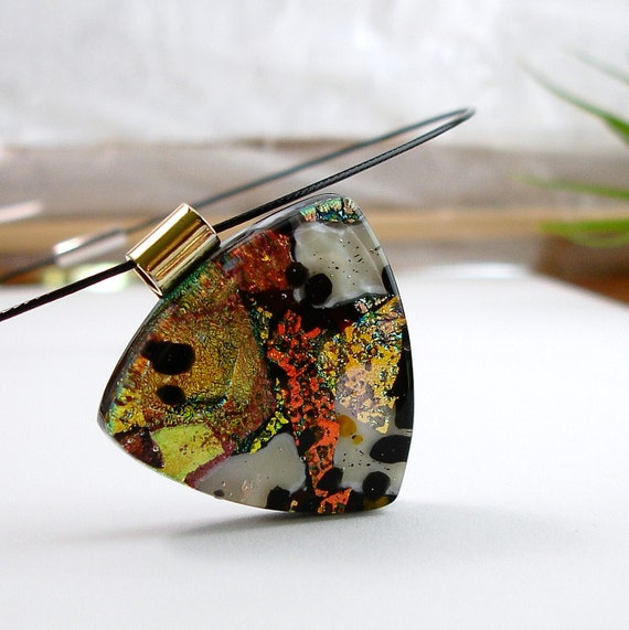 Dichroic Glass Pendant Necklace, Warm Colors, Fused Glass Jewelry