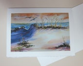 Sunset Sand Dunes 5 x 7 note card watercolor print Florida WatercolorsNmore