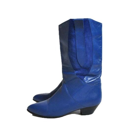 Vtg Cobalt Blue Leather Boots EU 38.5/ UK 5.5/ US 8