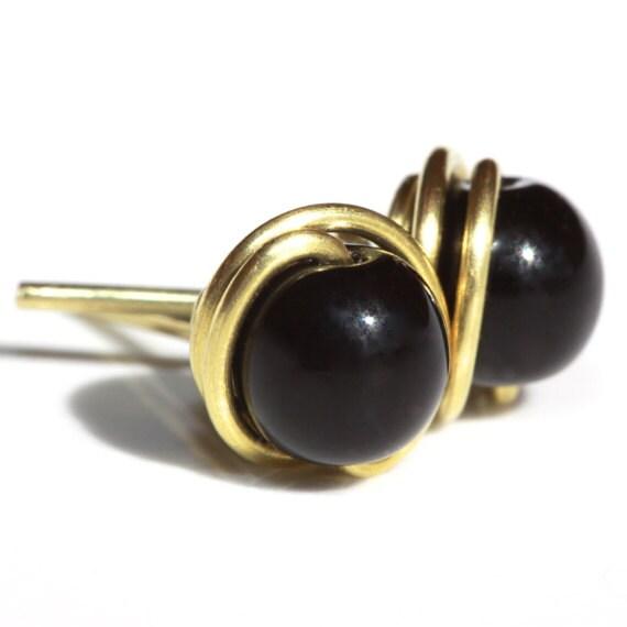Black Stone Earrings: Black Post Earrings Black Stone Earrings Black Earrings
