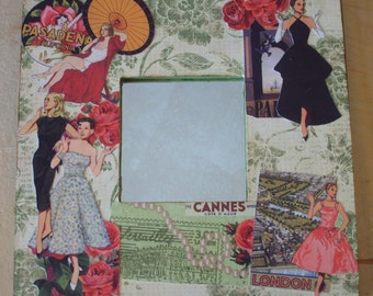 Fashion Travel Decoupaged Mirror
