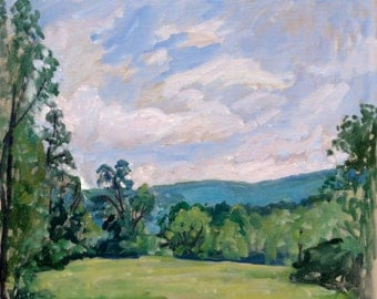 Oil Painting Landscape, Summer Morning in Vermont. Oil on Canvas, 16x16 Plein Air American Impressionist Fine Art, Signed Original