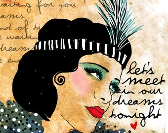 In Our Dreams / original illustration ART Print Hand SIGNED size 8 x 10