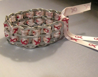 Recycled Soda Pop Can Tab Bracelet  Breast Cancer Awareness Pink Ribbon