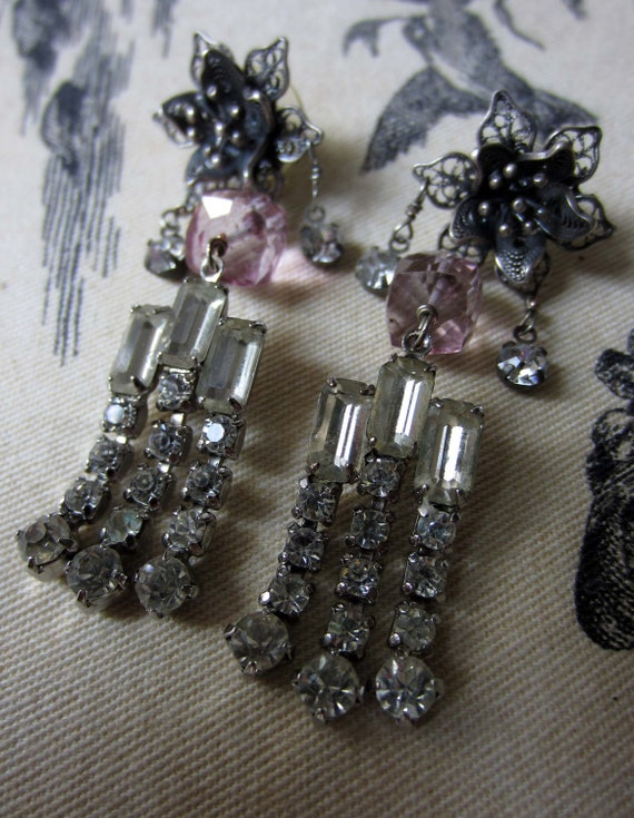 flower tassels - vintage assemblage rhinestone and sterling silver earrings by the french circus