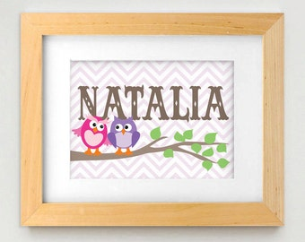 TWIN OWL Personalized Printable Nursery Art in Pink and Purple