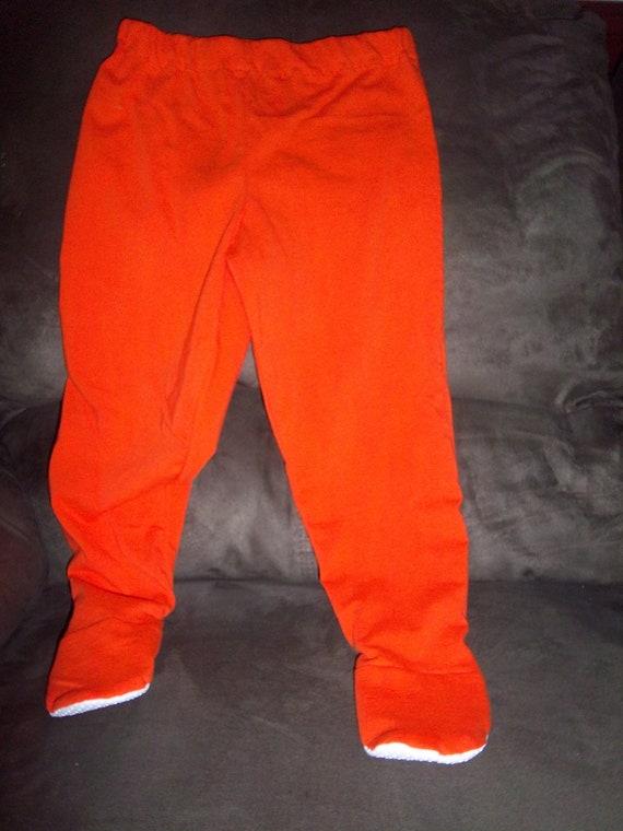 2t 3t Orange Organic Cotton Jersey Knit Footed Pajama Pants