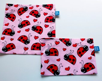 Reuseable Eco-Friendly Set of Snack and Sandwich Bags in Ladybug Fabric