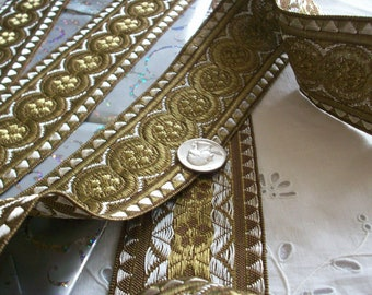 """1 1/3 yards antique gold metal trim with silver metal accents, 2 3/8"""",more avail."""