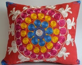 SALE / Embroidered Suzani Pillow Cover - Blue, Red, Pink, Beige, Yellow, Purple Colors