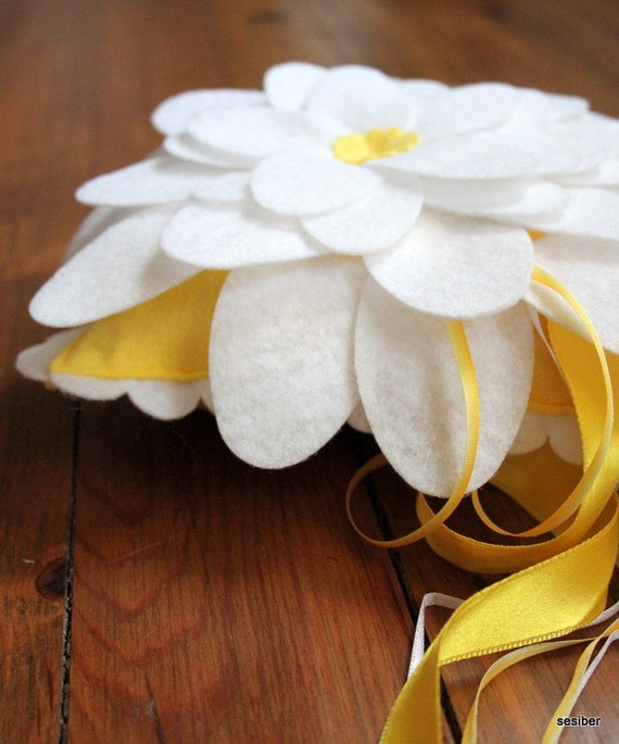 Wedding Ring Bearer Pillow, Romantic Felt Lotus Flower