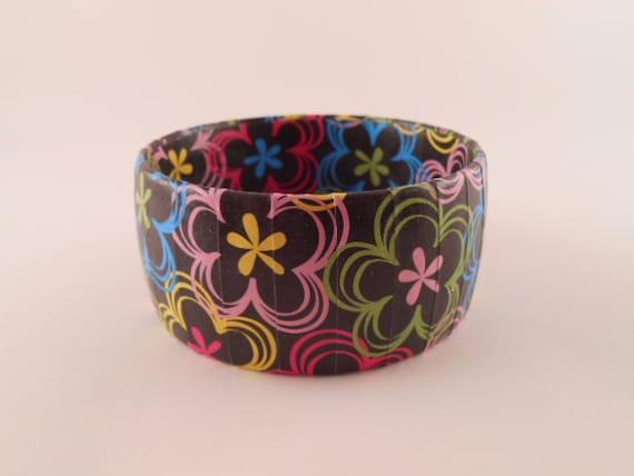 Upcycled Tween Bracelet Colorful Flowers