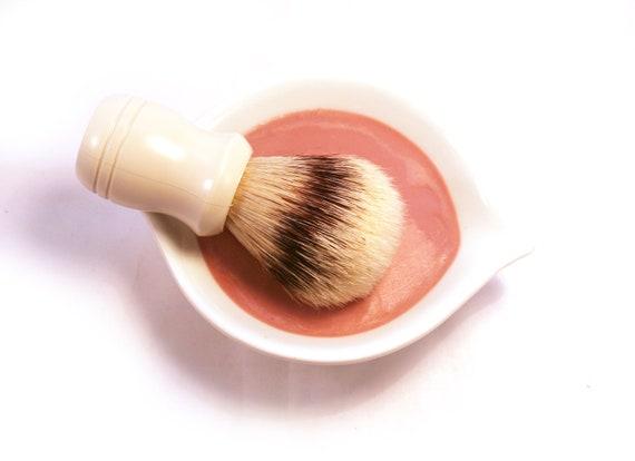 Coconut Shaving Soap Kit in White Bowl with Boar Bristle Brush - Vegan Soap Kaolin Clay Soap - Coconut Soap Bar - Shaving Bar - tbteam