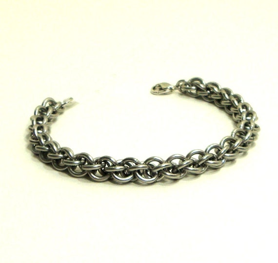 Chainmaille Jewellery, Chainmail Bracelet, JPL, Silver, Large, Aluminum