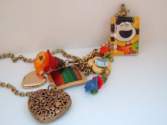 I love Lucy Peanuts vintage recycle one of a kind rainbow colorful hearts necklace