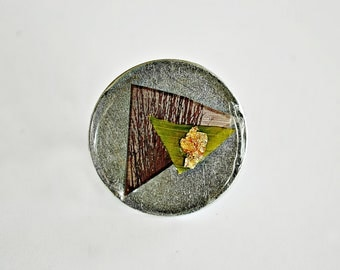 Hiding Beyond Life,Circle,Steel,Resin,Gold Flakes,Plant,Modern Art,Collage,Adjustable,Cocktail Ring