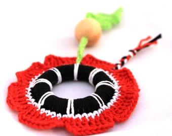 Poppy Baby Teething Ring/ Crochet toy / Fine motor skills development toy / Chewing Toy
