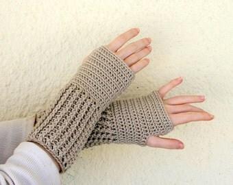 Mid-length fingerless gloves almond brown crochet bamboo silk women men small ribbed thick fancy dressy natural elegant luxury