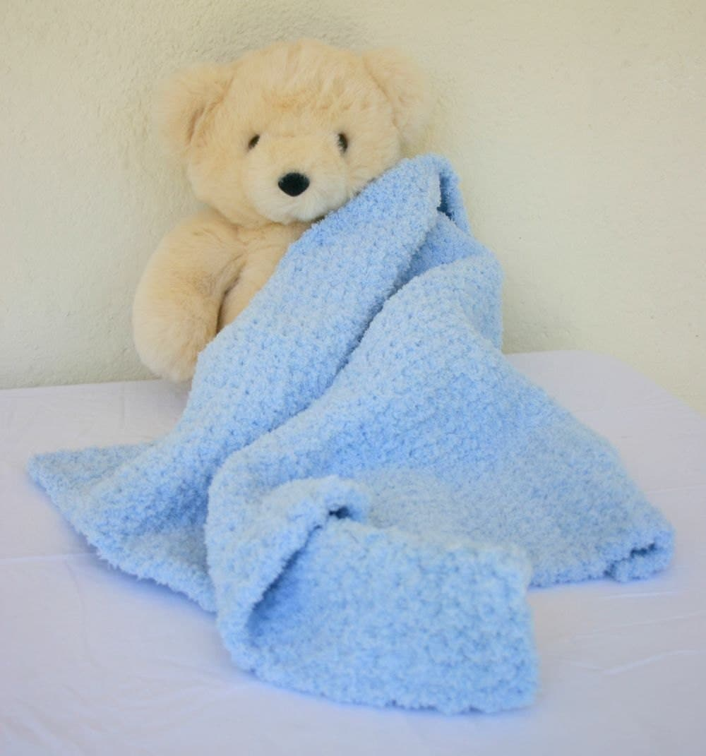 Crochet Baby Blanket Blue Soft Afghan Infant Crib Bedding