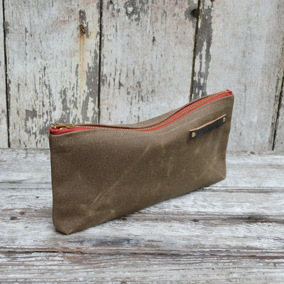 Waxed canvas pouch: Truffle with faded red zipper LIMITED