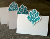 Blue Damask Place cards, escort cards in Blue Damask- for events weddings, parties and holiday entertaining